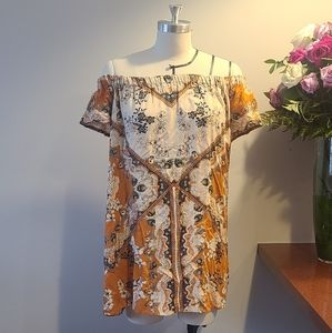Ecote Size Small Orange Off shoulder Dress